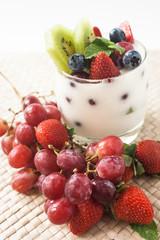 yogurt with grapes, kiwi and berries