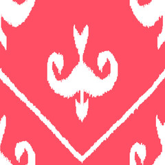Middle east ikat fabric seamless pattern in pink, vector