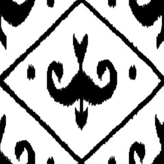 Middle east ikat seamless pattern in black and white, vector