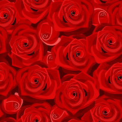 Seamless background with red roses. Vector illustration.