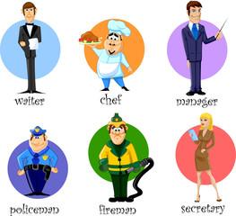 Герои мультфильмов секретарь, менеджер, повар, милиционер...
