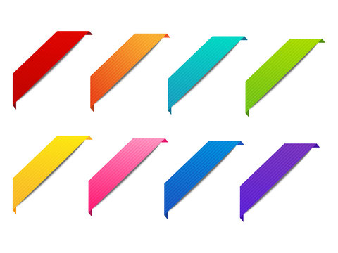 Set of color corner ribbons