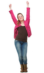 Smiling Girl with Two Hands in the Air