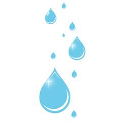 Weißer Hintergrund mit blauen Wassertropfen