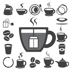 Coffee cup and Tea cup icon set.Illustration