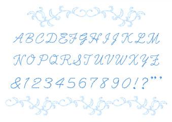 刺繍のアルファベット大文字・数字・記号