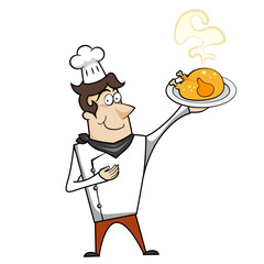 Cartoon Chef with Roast Chicken