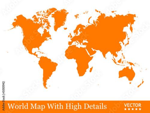 Karte Erde.Landkarte Weltkarte Karte Globus Erde Orange Geografie 2d