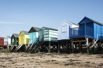 Colorful Beach huts at Southend on Sea, Essex, UK.