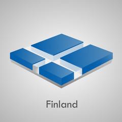 European flags set (glossy bricks) - Finland