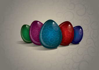 Decorated Easter Eggs On Pattern Background