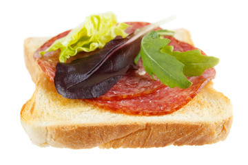 Toast with mettwurst cold cuts and different lettuce