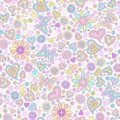 Springtime Flower Seamless Pattern Vector Art