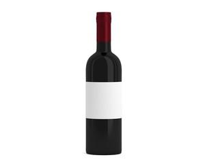 Weinflasche Schwarz Kappe weiß mit Etikett
