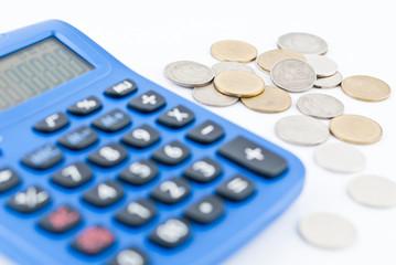 Calculator and thai coins