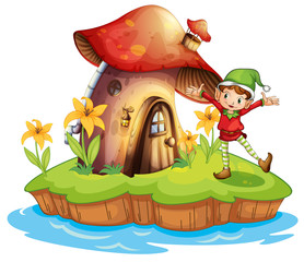 Garden Poster Magic world A dwarf outside a mushroom house
