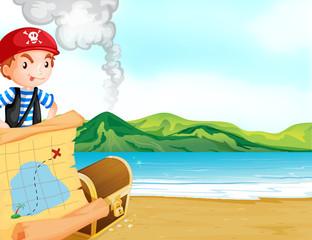 Foto op Plexiglas Piraten A pirate with a map near the seashore