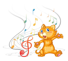 A dancing cat with musical symbols