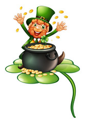 An old man in a green attire with a pot of coins