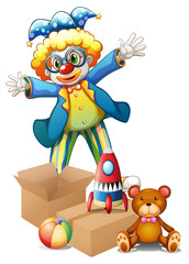 A clown with toys
