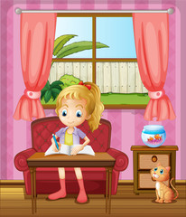 Printed kitchen splashbacks Cats A girl writing inside the house with a cat