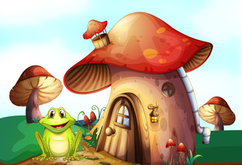 Garden Poster Magic world A green frog near a mushroom house