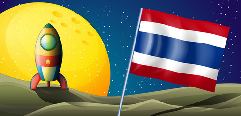 An airship at the back of the flag of Thailand