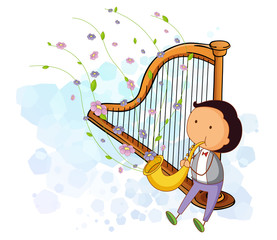 A boy with a saxophone and a harp