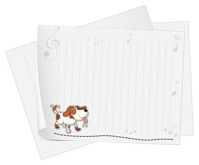 A blank stationery with an animal and musical symbols