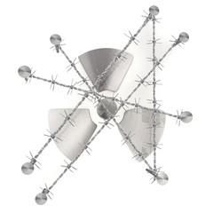 Caged atom symbol illustrated design with razor wire