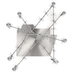 Chained and nailed razor metallic folder icon
