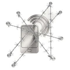 barbed Metallic smart phone  with signal symbol