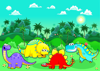Photo sur Plexiglas Dinosaurs Funny dinosaurs in the forest.