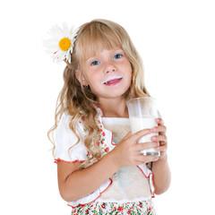 Little girl with milk mustache after drinking milk