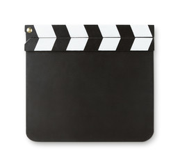 Blank clapboard isolated on white with clipping path