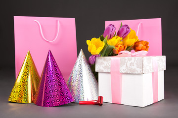 tulips, gift boxes and birtday hats