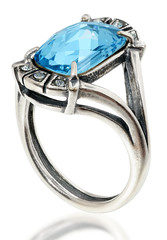 Silver ring with a large crystal