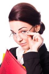 attraktive brünette Geschäftsfrau