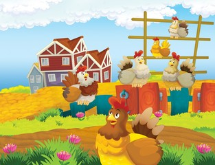 Foto auf Leinwand Bauernhof The life on the farm - illustration for the children