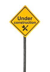 Under construction road sign.