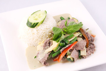 Beef green curry with rice, Thai food.