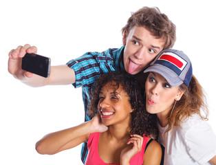 Teenagers taking a self photo