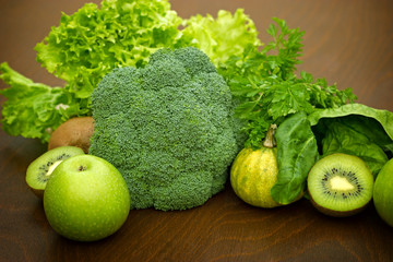 Green fruit and vegetable-Igredients of green smoothie
