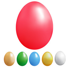 Set of colour eggs on a white background