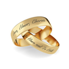 Wedding rings with phrases