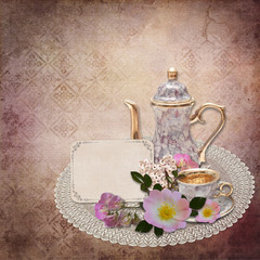 Vintage background with card and flowers