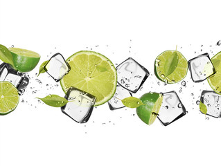 Photo sur Aluminium Dans la glace Limes with ice cubes, isolated on white background
