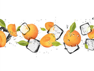 Fotobehang In het ijs Apricots with ice cubes, isolated on white background