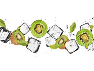 Fotorollo In dem Eis Kiwi slices with ice cubes, isolated on white background