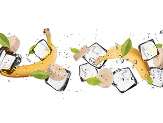Poster In het ijs Banana with ice cubes, isolated on white background